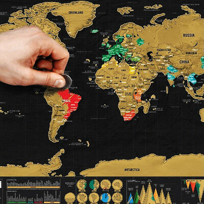 Scratch Off World Map Travel Holiday Poster Vacation Memory Wall Paper Xmas Gift