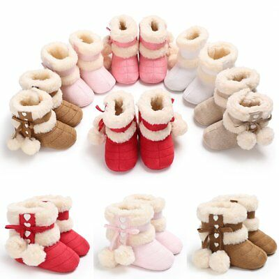 3-12M Baby Kids Girls Winter Warm Fleece Knit Snow Boots Booties Sole Crib Shoes