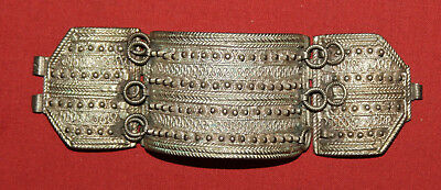 Antique Hand Made Ornate Metal Hinged Cuff Bracelet Medieval Style