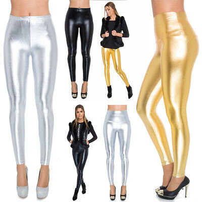 Womens Faux Leather High & Classic Waisted Leggings Silver Gold Black Shiny