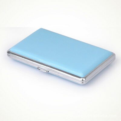 Women 14 Cigarette Case Metal and Leather Tobacco Pocket Smoke Holder Box Blue
