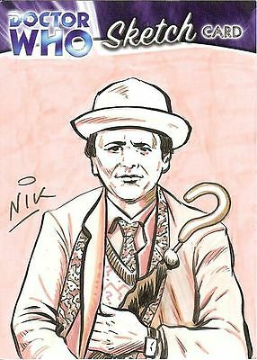 Dr Doctor Who Trilogy Sketch Card by Nick Neocleous /3 - The 7th Doctor
