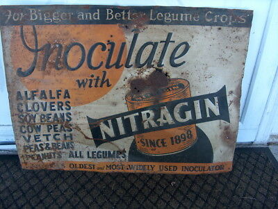 """Antique Metal Sign """"inoculate"""" With Nitragin  For Bigger And Better Legume Crops"""