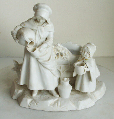 Parian porcelain figurine of mother with child at well