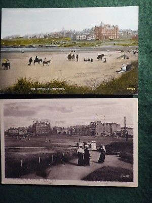 Fife. St Andrews. Two Views Of Beach And Golf Links.