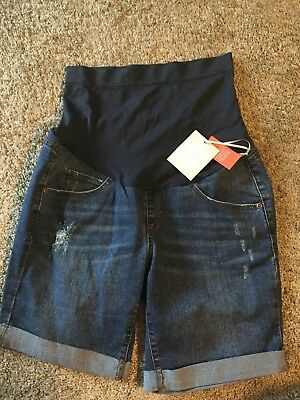 A Glow maternity shorts denim jean womens size 8 cuffed NWTS $44