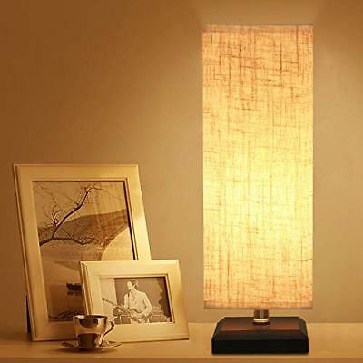Bedside Table Lamp, Retro Style Solid Wood Table Lamps with Fabric Shade SQUARE