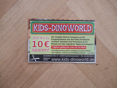 KIDS-DINOWORLD Gutschein 10 € Rabatt Coupon
