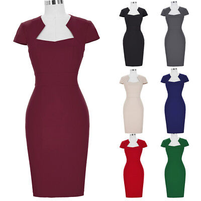 Sexy Women Bodycon 50s 40s Vintage Pinup Pencil Wiggle Work Cocktail Party Dress