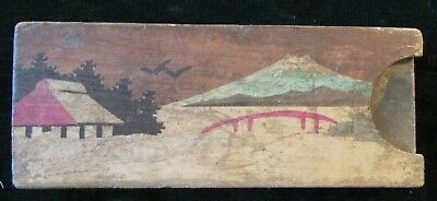 Vintage Inlaid Wood Puzzle Trick Box Hidden Coin Asian Hand Made Mt Fuji