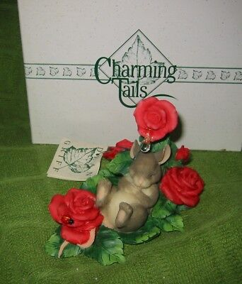 Charming Tails Life Is A Bed Of Roses W/box 98/198  Dean Griff 1998 Artist Piece