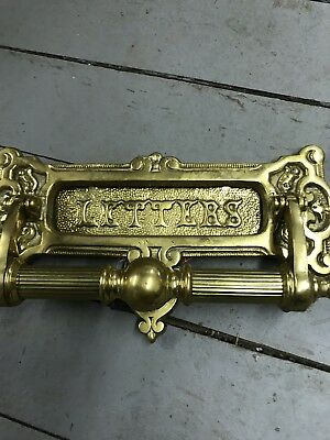 Ornate Victorian Solid Brass Mail Letter Slot for Door and Wall Antique