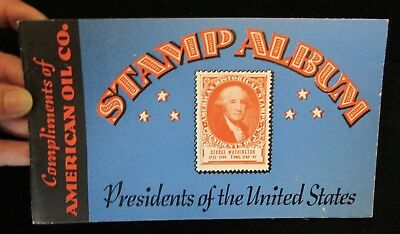 1936 Amoco Stamp Album with 4 stamps Booklet