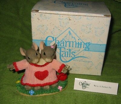Charming Tails We're A Perfect Fit  W/box 84/111  Fitz & Floyd Water Stained Box