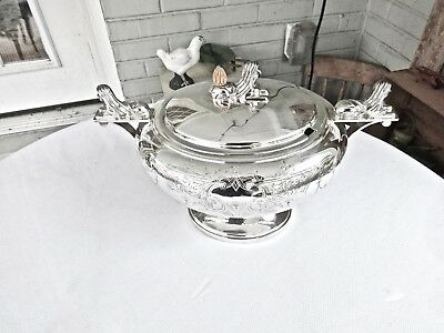 Antique Middletown Egyptian Revival Sphinx Topped Silver 6 Pint Soup Tureen,