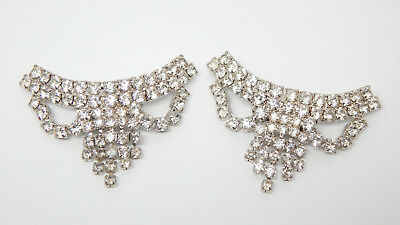 💕 Art Deco Crystal Rhinestone Silver Antique 'fringe' Fancy Bow Shoe Clip