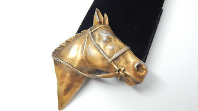 💕 Estate Bronze Gilted Metal Horse Horsehead Old Antique Vtg Pin Brooch