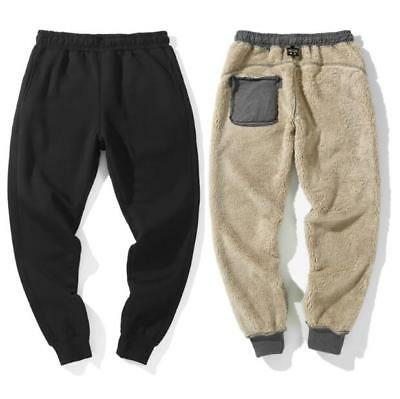 Sports Mens Winter Cotton Jogger Pants Warm Fur Lined Sweatpants Trousers Gray V
