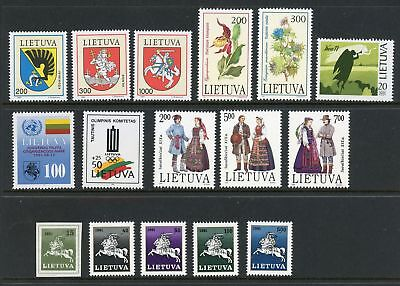 Lithuania Assortment #6 MNH Arms UN Olympics Flora Costumes Religion Churches $$