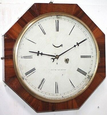 """ANTIQUE 1860's CHAUNCEY JEROME 8 DAY (10.5"""" DIAL) OCTAGON LEVER WALL CLOCK."""