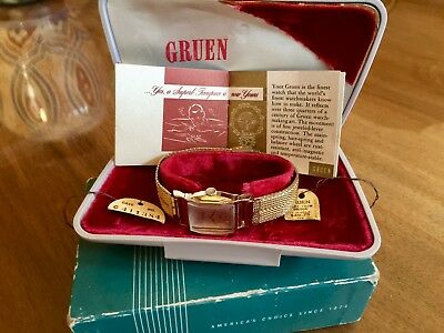 Art Deco Style Vintage Swiss Watch Gold Gruen Outer Box /box Sales Tags Booklet