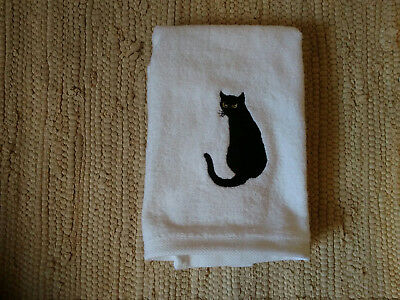 Cat Embroidered White Velour Hand Towel Black Cat