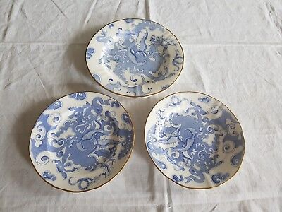 Royal Worcester Blue Dragon Side Plates X 3