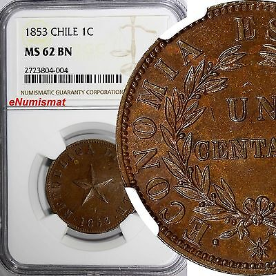 CHILE Copper 1853 1 Centavo NGC MS62 BN 5-Pointed Star KM# 127
