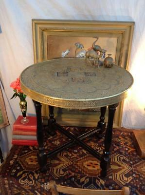 Antique Anglo Chinese Folding Tea Table Buddhist Well Being Symbols Unique Chic