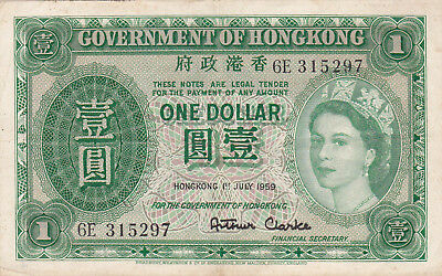 1 DOLLAR VERY FINE CRISPY BANKNOTE FROM HONG KONG 1959!PICK-324a!!
