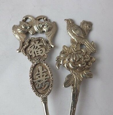 """2 Chinese Solid Silver """"Bird"""" & """"Fish"""" Top Tea Spoons/ 28 g"""