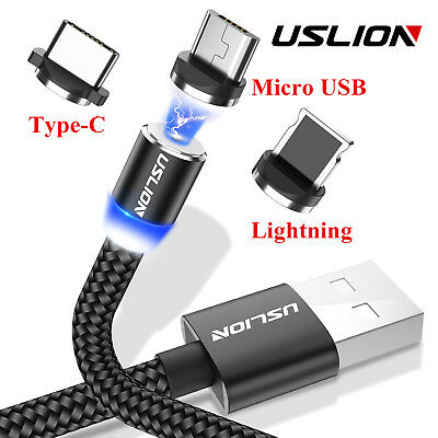 USLION Magnetic Fast Charging Charger Cable Micro USB Type-C Port For IOSAndroid