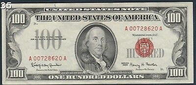 """1966 $100 """"Red Seal"""" Small United States Note """"XF/AU"""" *Free S/H After 1st Item*"""