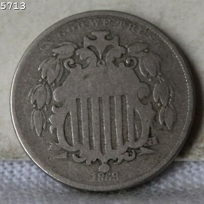 1868 Shield Nickel *Free S/H After 1st Item*