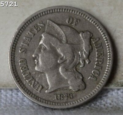 """1873 """"Open 3"""" Three-Cent Piece (Nickel) """"VF+"""" *Free S/H After 1st Item*"""