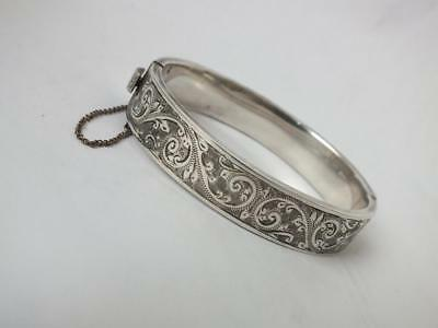 Pretty Engraved Solid Sterling Silver Stiff Hinge Bangle 1952/ H 1.2 cm