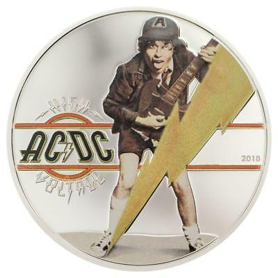 2018 AC/DC High Voltage - $ 2 Dollars Silver Proof Coin Cook Islands 1/2 oz