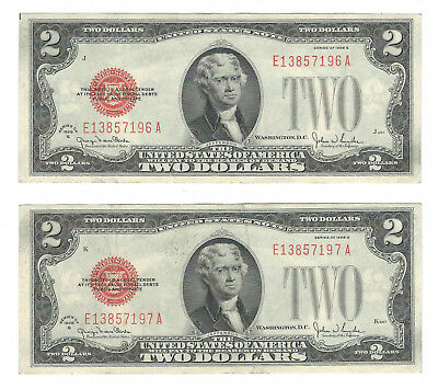 2 Consecutive 1928G $2 United States Red Seal Notes, Fr1508, Extremely Fine