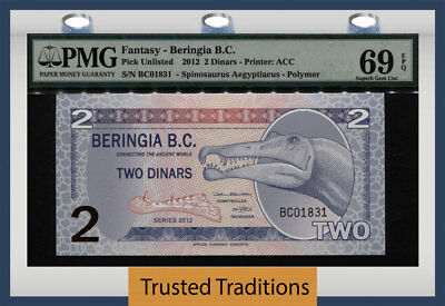 Tt 2012 Beringia Applied Currency Concepts 2 Dinars Dinosaur Pmg 69 Epq Superb!