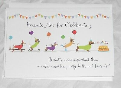 Set of 4~ DACHSHUND 💥 WIENER DOGS Birthday Cards 💥 FRIENDS ARE FOR CELEBRATING