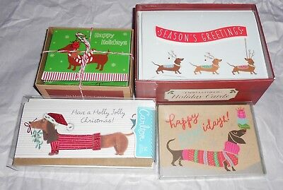 Lot of 4- Assorted Boxes💥 DACHSHUND Christmas Holiday💥 56 Cards WIENER DOGS💥