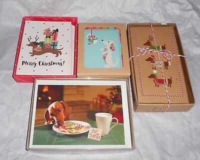Lot of 4~ Mixed 💥 DACHSHUND Christmas Holiday Boxed Cards💥 WIENER DOGS New