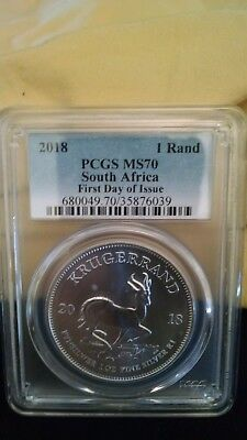 2018 1 Rand Silver South Africa Krugerrand PCGS MS70 First Day of Issue