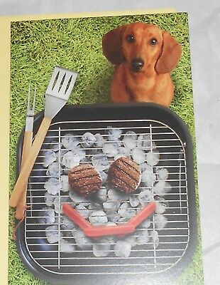 Set of 2 Hallmark  DACHSHUND💥 BIRTHDAY Greeting Cards💥 BAR-B-QUE Wiener Dog
