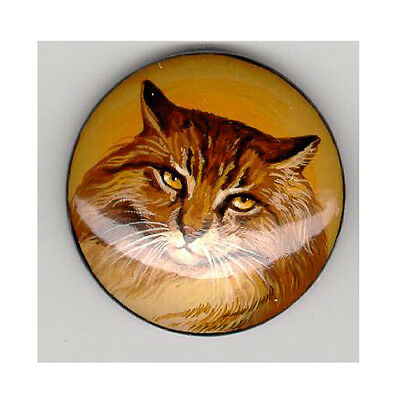 Kitty Cat Hand Painted Brooch Pin Russian Lacquer