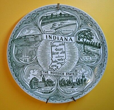 "COLLECTIBLE STATE PLATE INDIANA THE HOOSIER STATE GREEN 9 1/2""  with Wall Hanger"