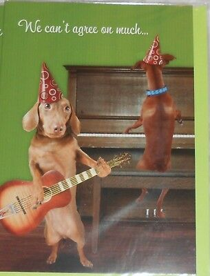 Set of 2💥 WIENER DOG Birthday Cards from Both DACHSHUND Party HAT Guitar PIANO
