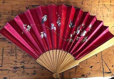 Antique c1900 Red satin Silk Chinese Fan hand painted birds excellent cond.