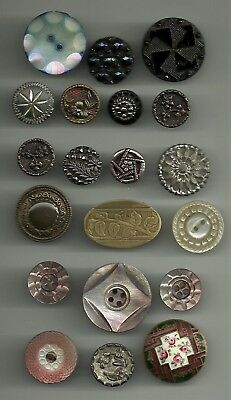 20 Vintage Old Antique Metal Mother Of Pearl Glass Mourning Embossed Buttons