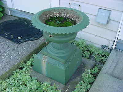Antique Cast Iron Garden Urn Jardiniere Architectural Planter Stand Kramer Bros